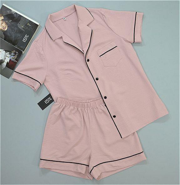 Пижамный комплект рубашка и шорты пудровый Женские пижамы.