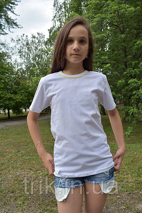 Детские белые футболки с желтым кантиком, фото 2