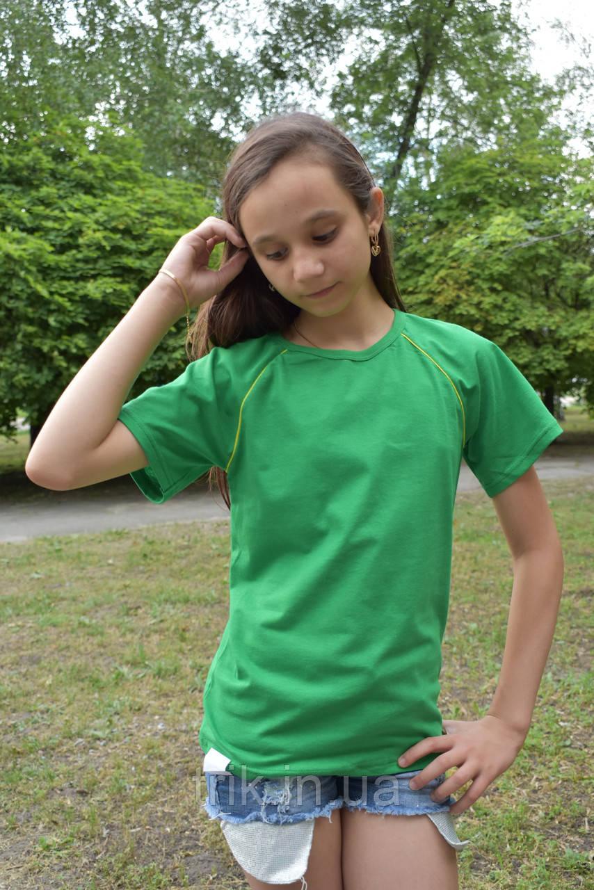 Футболка реглан детская зеленая с желтой окантовкой