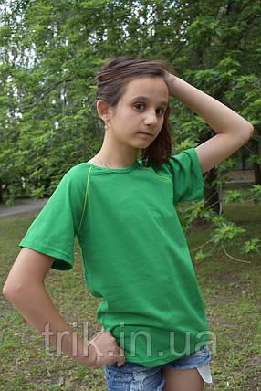 Футболка реглан детская зеленая с желтой окантовкой, фото 2