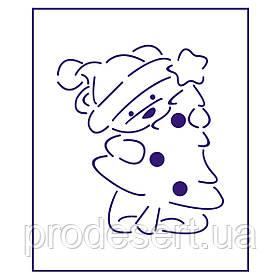 Трафарет Ведмедик з ялинкою 10*8,8 см (TR-1)