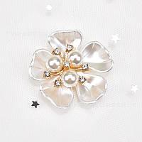 Мини брошь-декор большой жемчужный цветок 3,8см, фото 1