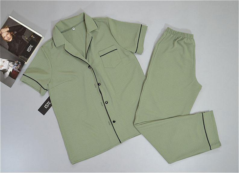 Пижама женская рубашка и штаны Este хаки.