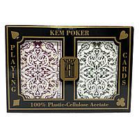 Покерные карты KEM Jacquard Burgundy-Green Jumbo