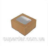 Коробка 100х90х50 мм з вікном для суші Крафт (ящ:1500 шт)