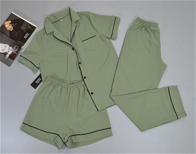 Пижама женская тройка Este рубашка штаны шорты цвета хаки.
