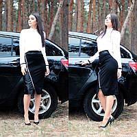 Женская строгая юбка по колено с молнией