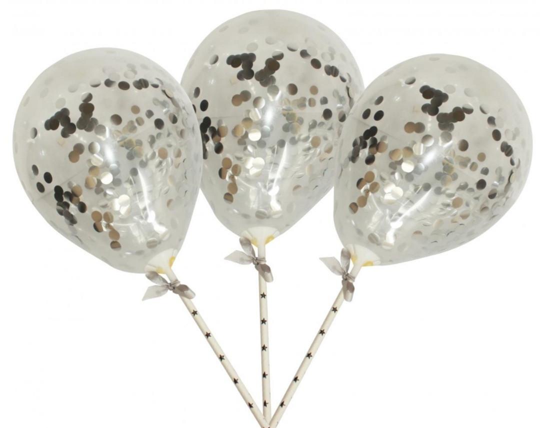 Набір повітряних кульок в торт Конфетті срібло
