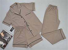 Пижама женская тройка Este рубашка штаны шорты оливковая.