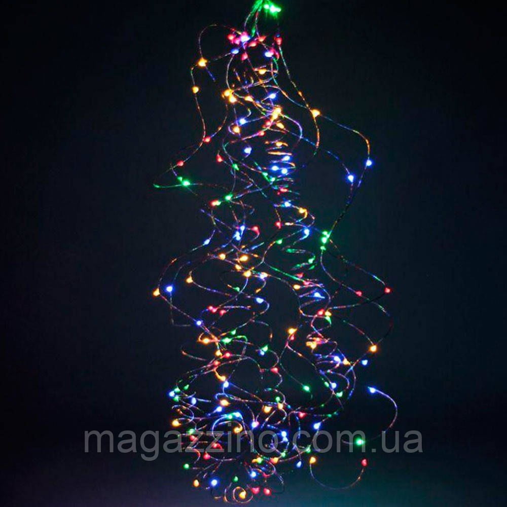 Гірлянда Кінський хвіст 200 LED, 10 ниток, Мультикольорова, дріт, від мережі, 2м.