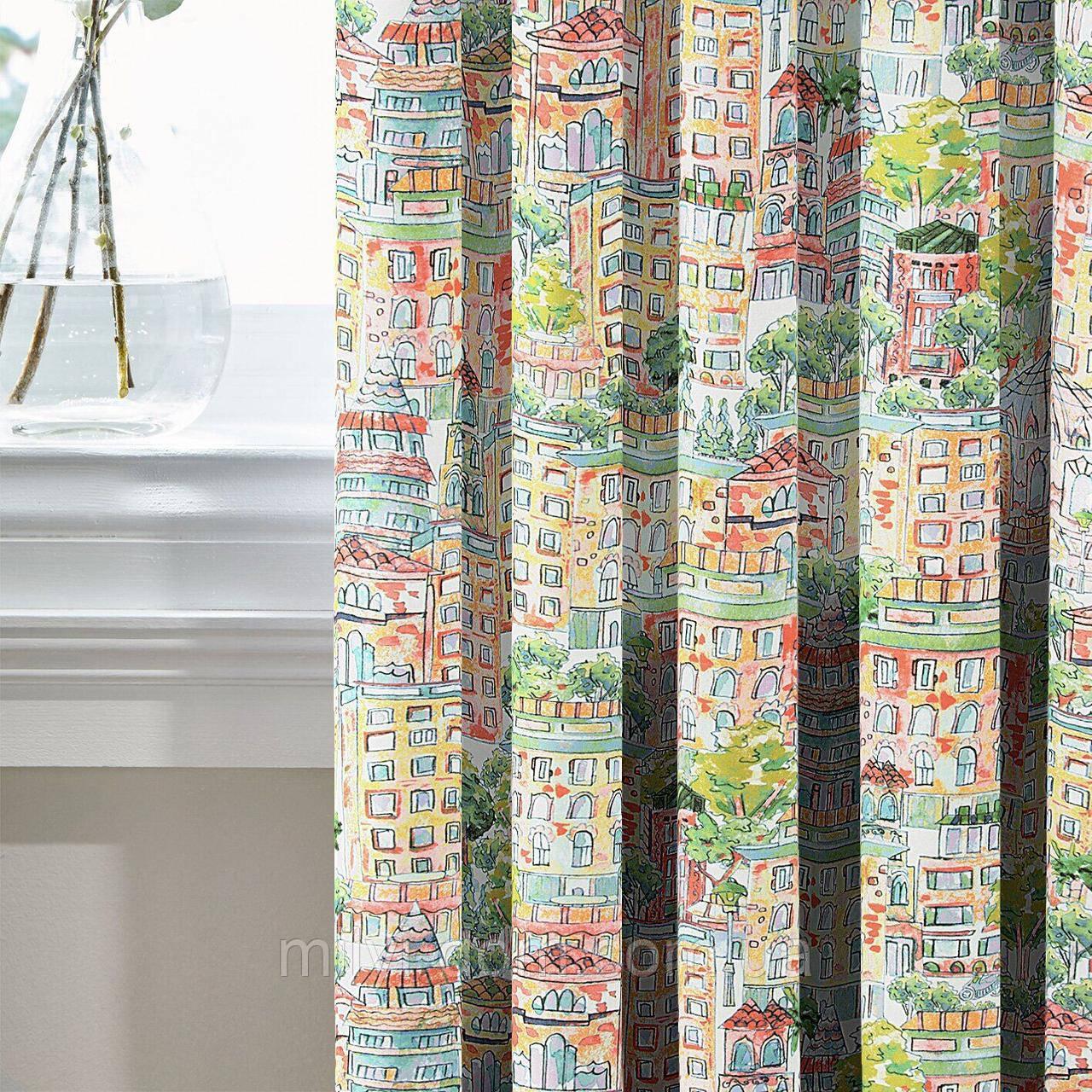 Комплект Декоративных Штор в детскую MacroHorizon Испания ДОМИКИ ЦВЕТНЫЕ