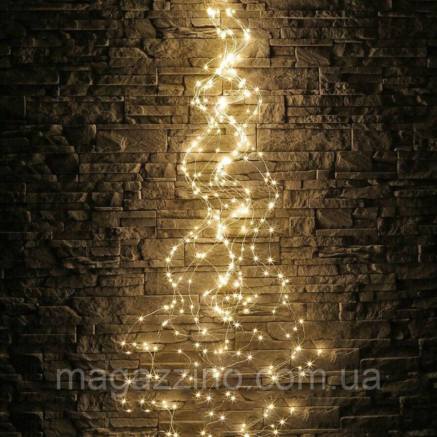 Гирлянда Конский хвост 200 LED, 10 нитей, Золотая (Желтая), проволока, от сети, 2м.