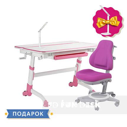 Комплект для подростков растущая парта FunDesk Volare Pink + ортопедическое кресло FunDesk Bravo Purple, фото 2