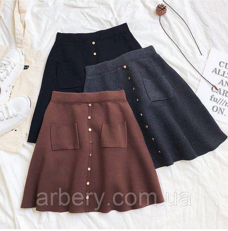 Женская вязанная юбка с декором