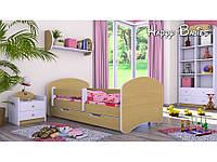 Детская кровать Happy Kolor 180х90 с ящиком и бортиками Светлая Груша
