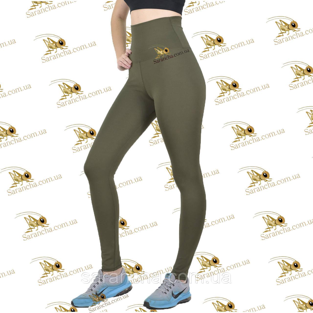 Леггинсы спортивные женские оливкового цвета с эффектом утяжки