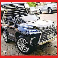 Детский электромобиль Джип M 3906 EBLR-2, Lexus LX570, колеса EVA, кожаное сиденье, черный