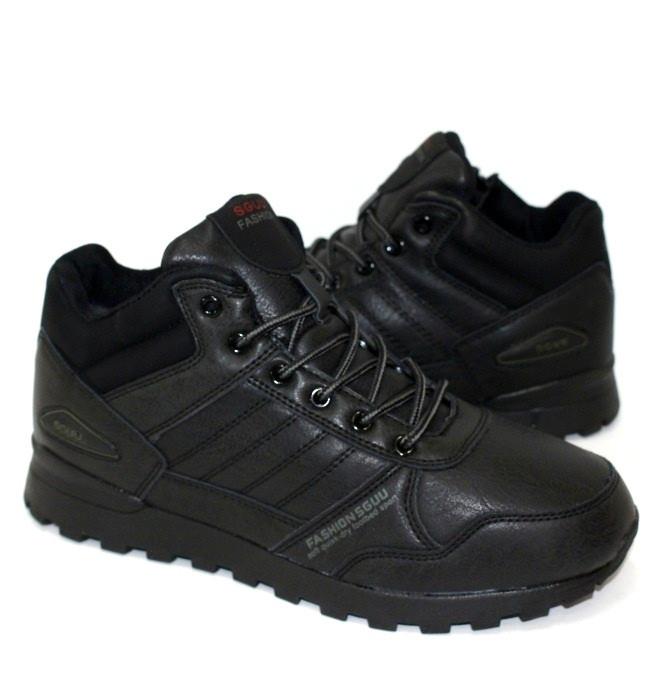 Мужские зимние ботинки черного цвета на меху