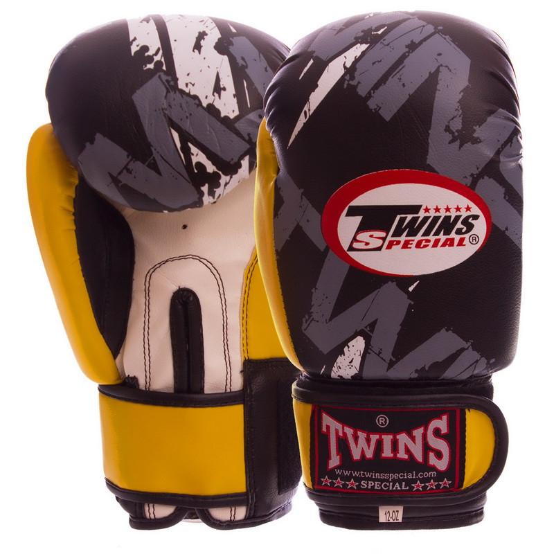 Боксерские перчатки на липучке PVC TWINS TW-2206 черно-желтые, 6 унций
