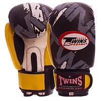 Боксерские перчатки на липучке PVC TWINS TW-2206 черно-желтые, 6 унций, фото 1