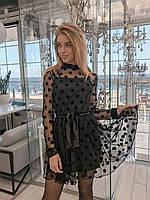 Женское вечернее черное платье с сеткой в горошек с поясом