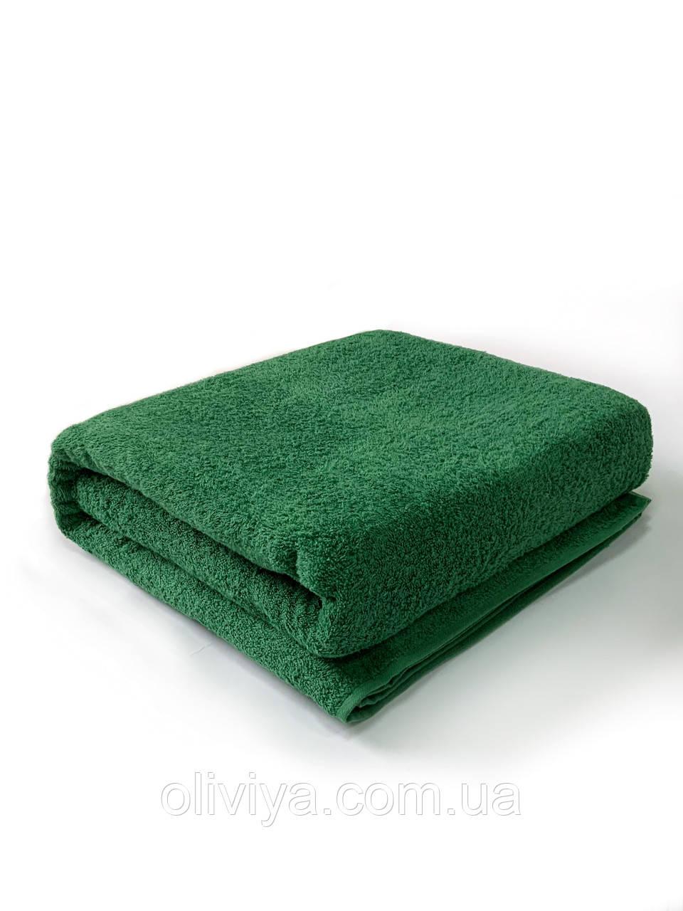 Полотенце банное и пляжное темно-зеленое