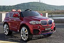 Детский электромобиль Джип M 2762 EBLR-3, BMW X5 (mp4-монитор), Кожа, EVA резина, Амортизаторы, красный