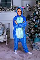 Пижама кигуруми Стич синий. Яркая пижама кигуруми для детей, женщин, мужчин