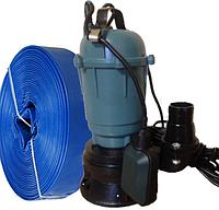 Фекальный насос чугунный корпус с измельчителем Wisla WQD 1,1 + шланг 25м + трос силикон+ хомут, фото 1