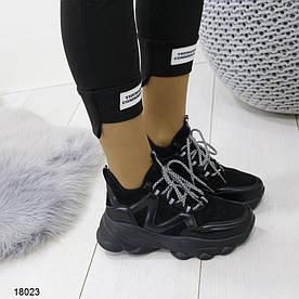 Снікерси жіночі чорні 18023