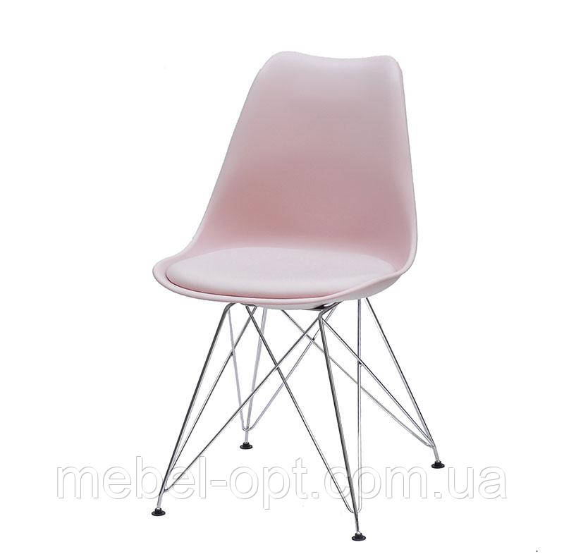 Стул Milan Chrom ML розовый 63 пластиковое сиденье с подушкой на хромированных ножках, скандинавский стиль