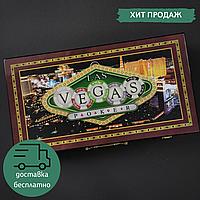 Набор для покера в кейсе-чемодане Покерный набор на 300 фишек с номиналом ZELART LAS VEGAS Коричневый (W300N)