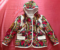 Приталенная  куртка с отделкой в стиле Матрешка на синтепоне с капюшоном