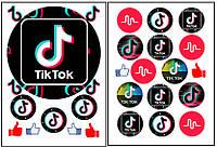 Набор вафельных картинок Тик Ток для торта и капкейков (2 листа А4) + декор-гель (100г) (5006)