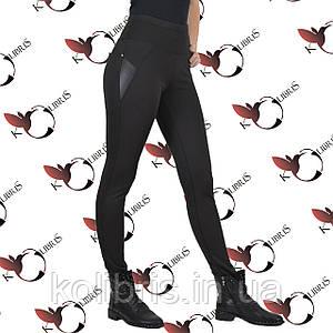 Жіночі теплі лосіни, чорний дайвінг на хутрі, широкий пояс, норма, р. 42-52