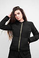 Женская весенняя черная стеганая куртка