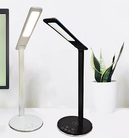 Cенсорная настольная LED лампа с беспроводной зарядкой Qi, черная, ЛЕД светильник