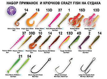 Набор приманок и крючков Crazy Fish на судака 21в1