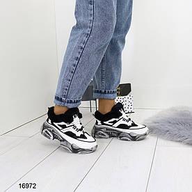Жіночі кросівки зимові білі з чорним 16972