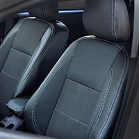 Чехлы на сиденья Nissan Qashqai+2 2008-2014 из Экокожи и Автоткани (MW Brothers), полный комплект (5 мест)