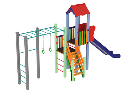 Дитячий комплекс Котик, висота гірки 1,8 м, фото 2