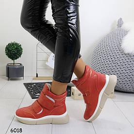 Женские ботинки-сникерсы на танкетке 6018