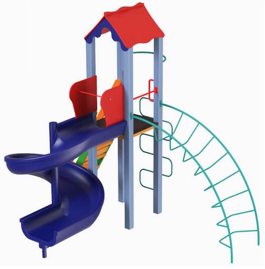 Детский комплекс Петушок с пластиковой горкой Спираль