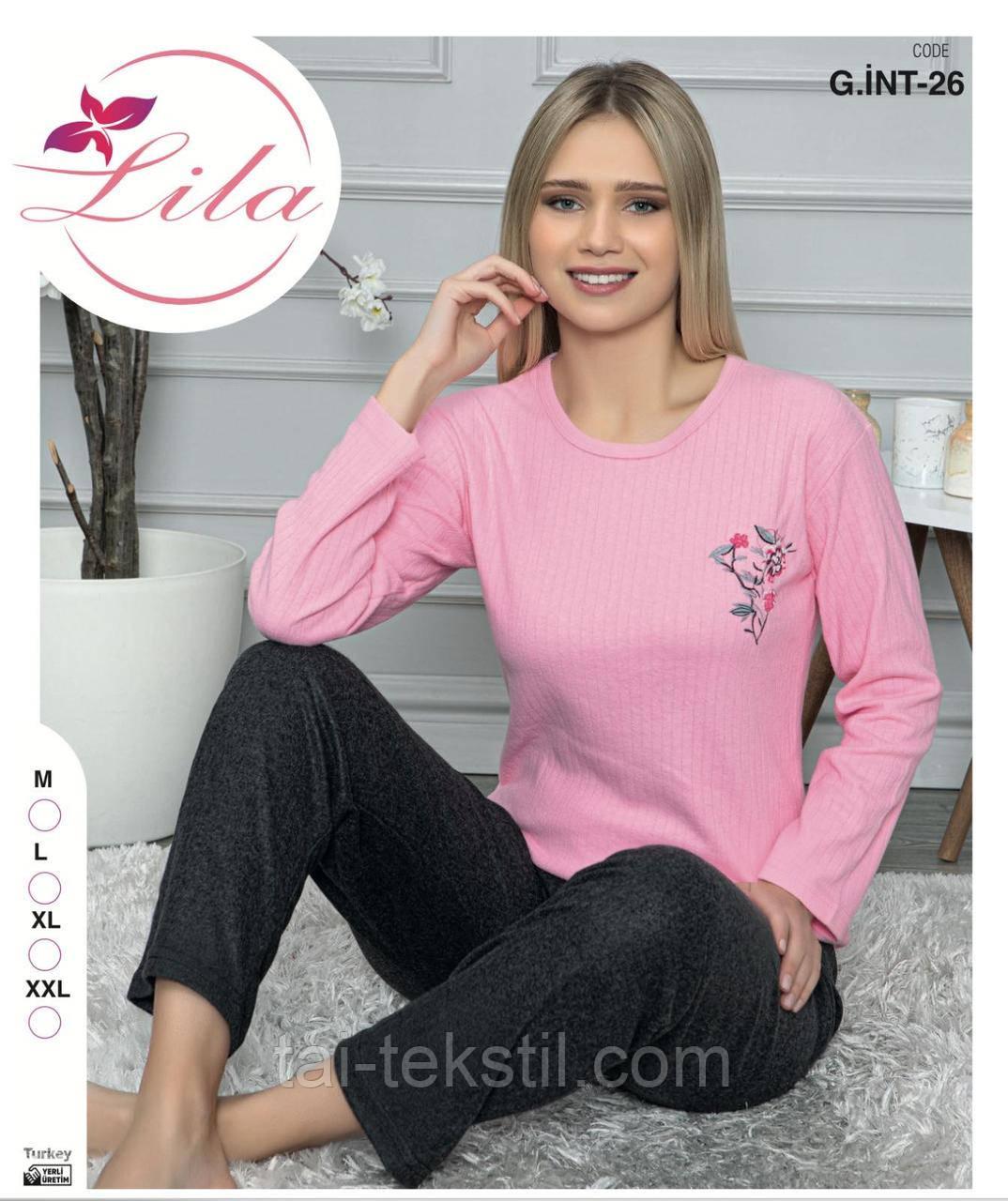 Пижама теплая женская мягкий ИНТЕРЛОК-КАШЕМИР Турция M-L-XL-2XL