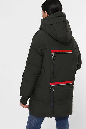 Темный хаки красивый пуховик теплый на зиму оверсайз размеры 42,44, фото 2