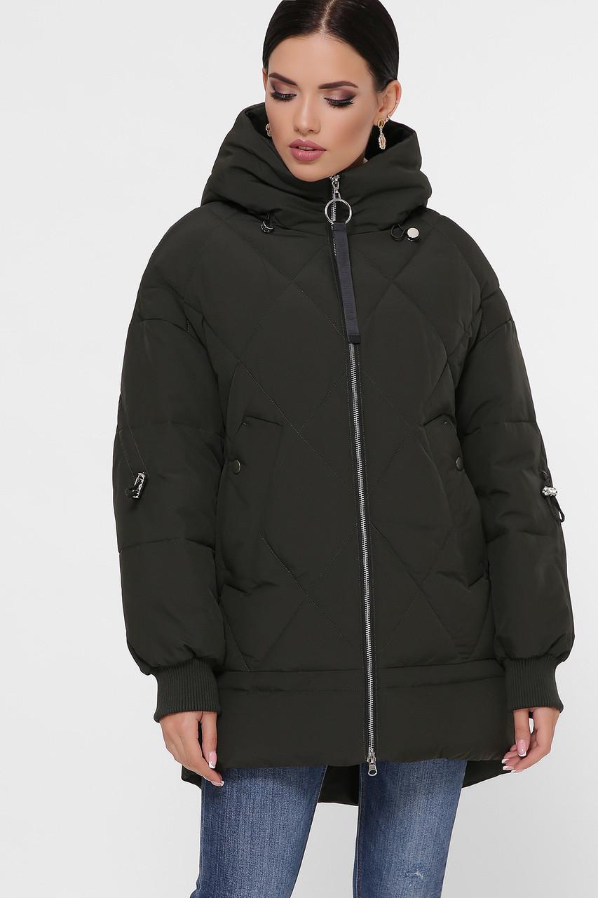 Темный хаки красивый пуховик теплый на зиму оверсайз размеры 42,44