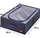 Текстильный кофр для хранения вещей на 4 отдела (со съемными перегородками) (джинс), фото 2