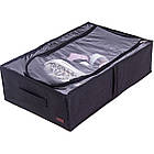 Текстильний кофр для зберігання речей на 4 відділу (зі знімними перегородками) (чорний), фото 4