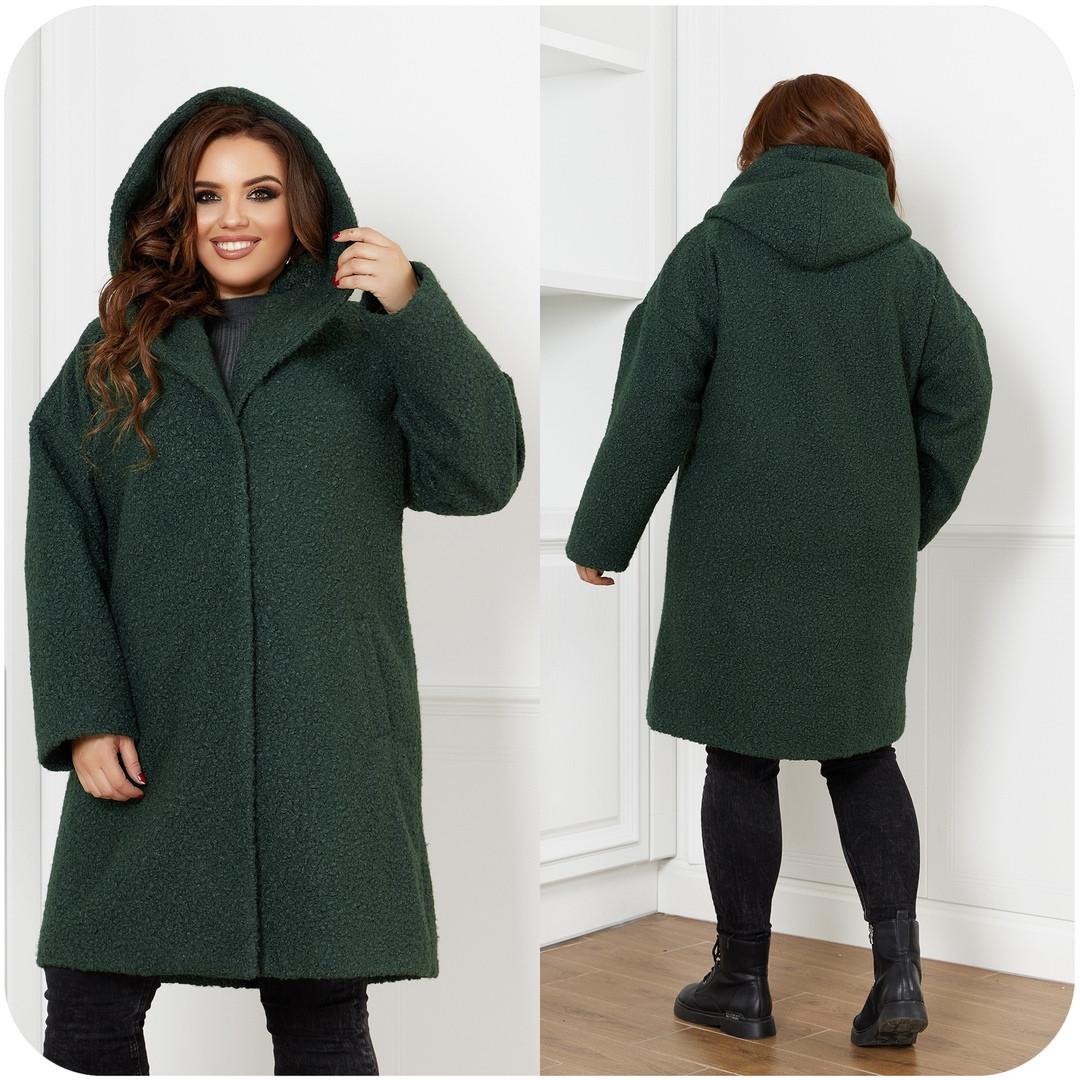 Женское демисезонное пальто с карманами букле барашек+подклад размер:48-50,52-54,56-58,60-62,64-66