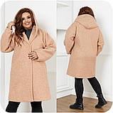 Женское демисезонное пальто с карманами букле барашек+подклад размер:48-50,52-54,56-58,60-62,64-66, фото 3